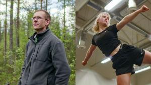 Luontokuvaaja Ville Heikkinen metsässä, cheerleader Loviisa Jännes treeneissä