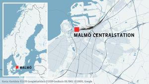 Malmö centralstation på en karta.