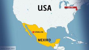 Karta över USA och Mexiko.