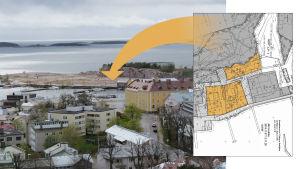 Bildcollage av hangö stads karta över tomter och ett fotografi av Östra hamnen i Hangö.