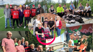 Kuvagalleria Kutsu Yle kahville -tempaukseen osallistuneista ihmisistä. Viisi kuvaa, joissa erilaisia ihmisiä erilaisissa ympäristöissä.
