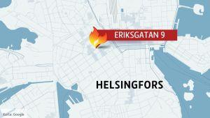Brand på Eriksgatan i Helsingfors.