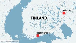 Karta över södra och mellersta Finland
