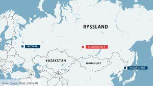 Karta över Ryssland.
