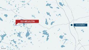 En karta som visar Iso-Melkutin och Riihimäkis position.