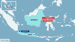Karta över Indonesien, på kartan är städerna Jakarta, Samarinda och Balikpapan utmärkta.
