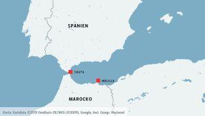 De spanska enklaverna Ceuta och Melilla i Nordafrika