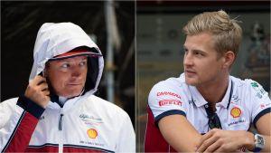 Kimi Räikkönen och Marcus Ericsson i Belgien.
