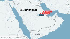 En karta som visar var Khurais och Abqaiq ligger.