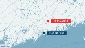 Karta över Nyland med Helsingfors i blått och Träskända i rött.