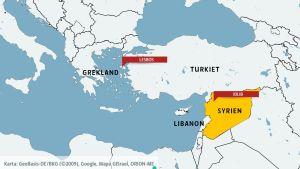 Karta över Grekland, Turkiet, Syrien och Libanon.