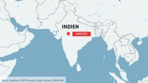 Karta över Indien. Indore.