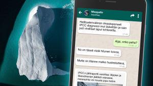 Jäävuori ja kännykkä
