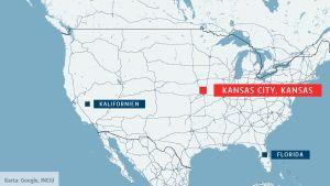 En karta som visar var Kansas City, Kansas ligger.
