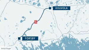 En karta som visar riksväg 6 mellan Forsby och Kouvola