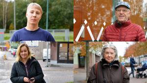 Ett collage med fyra bilder med personporträtt av Sandra Hellman, Andreas Isaksson, Bo-Erik Wessman och Madeleine Wessman.