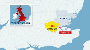 Karta över Storbritannien, Essex, London och Grays