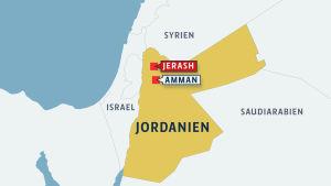 Karta över Jerash i Jordanien