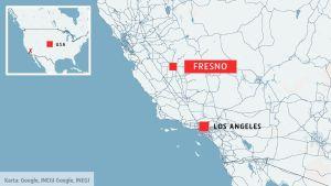 En karta där Fresno och Kalifornien är utmärkta.