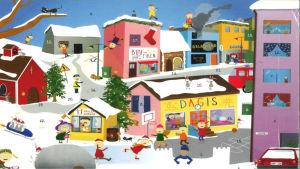 Julkalender. I bilden barn som leker ute i snön vid ett dagis. I bakgrunden syns olika byggnader, bland annat den ljusröda Buu-butiken.