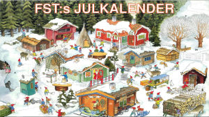 Julkalender. I bilden en liten by med tomtar som jobbar. Byn är täckt av snö och många färggranna små stugor.