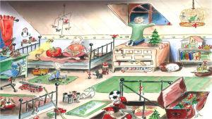 Julkalender. I bilden ett barnrum där flickan sitter på sängen, pojken tittar ut genom fönstret och det minsta syskonet sitter på mattan och leker.