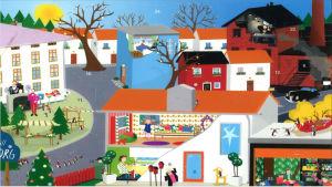 Julkalender, Flingeborg. I bilden syns en massa små hus i vitt, blått och rött. Inne i husen  sitter ett par personer vid t.ex. matbordet och vid fönstret.