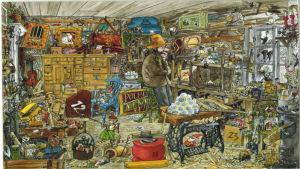 Julkalender. I bilden Pettson och Findus inne i skjulet som är fyllt av en massa olika saker. Pettson tittar ut från fönstret fundersamt medan Findus leker med garn på golvet.