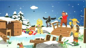 Julkalender. Tecknad från Bärtil. I bilden syns Bärtil, Isagris,Kråkan och Pudeln i ett vintrigt landskap.