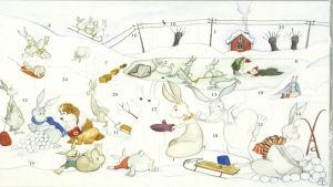 Julkalender. I bilden en massa harar i ett vintrigt landskap. Hararna bygger snölyktor, snöharar, åker pulkka ner för backen och kastar snöboll,