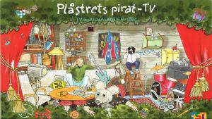 Julkalender. Plåstrets pirat-TV Plåstret syns längst fram på bilden, i bakgrunden ser man två personer som ena sitter på soffan och andra på en stege. I bakgrunden finns också ett trumsett, ett piano, en elgitarr och tavlor.