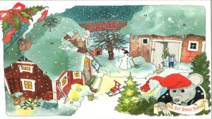 Julkalender. Plåstret o högra nedrehörnan. I bakgrunden två stugor i ett snöigt landskap.