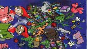 Julkalender. Lila bakgrund, två tomtar som läser böcker och i bakgrunden bland annat små djur som giraff, lejon, häst och blommor, en bokhylla och en mus i en gunga.