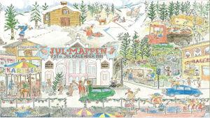 Julkalender. Julmappen. Bilden är ritad med färgpennor och där syns bland annat en stuga upp epå backen, en ljusröd saluhall, en karusell och människor som går förbi och vinkar åt varandra.