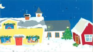 Julkalender. Ett snöigt landskap. Ett gult, vitt och rött hus. Inne i gula huset sitter Buu-stämpeln.