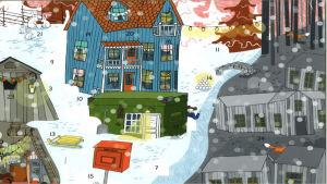 Julkalender. Snöigt landskap, en röd postlåda i framgrunden, ett blått hus i bakgrunden.