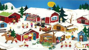 Julkalender 2007. Tomteby under vintern. Stugorna är täckta av snö och tomtarna leker ute på gården