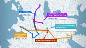 En grafisk karta över självständighetsdagens demonstrationer i Hfors.