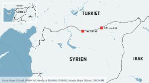 En karta som visar två städer i Syrien