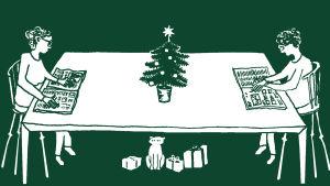 Bild på två personer på varsin sida om ett bord, föreställer en tråkig julafton