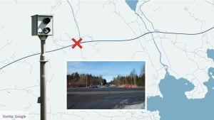 Bildmontage som visar avtaget till Sjundeå från stamväg 51, samt placeringen av trafikövervakningskameran.