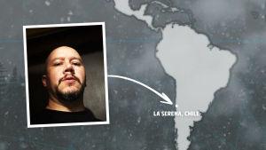Rikosdraama Sorjosen kansainväliset fanit: chileläinen Jorge Pardo.
