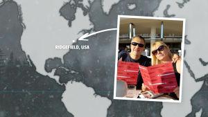 Rikosdraama Sorjosen kansainväliset fanit: yhdysvaltalainen Jeff Gabello vaimonsa Wendyn kanssa.