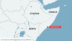 Karta visar Mogadishu i Somalia.