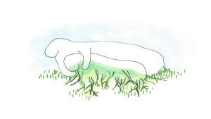 Illustration där en abstrakt kropp greppar jorden och gräs