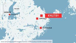 Karta som visar Knutby, Uppsala och Stockholm.