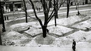 Skyttegravar i Esplanadparken, Helsingfors, 1940