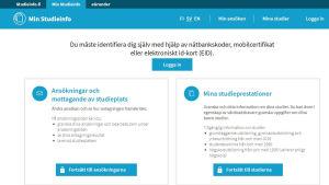 Skärmdump från webbsidan Studieinfo.fi.