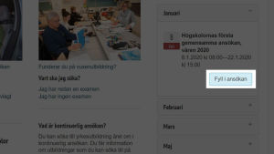 En skärmdump från webbplatsen Studieinfo.fi.