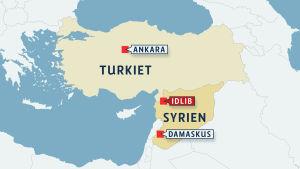 Karta över Idlib vid den syrisk-turkiska gränsen